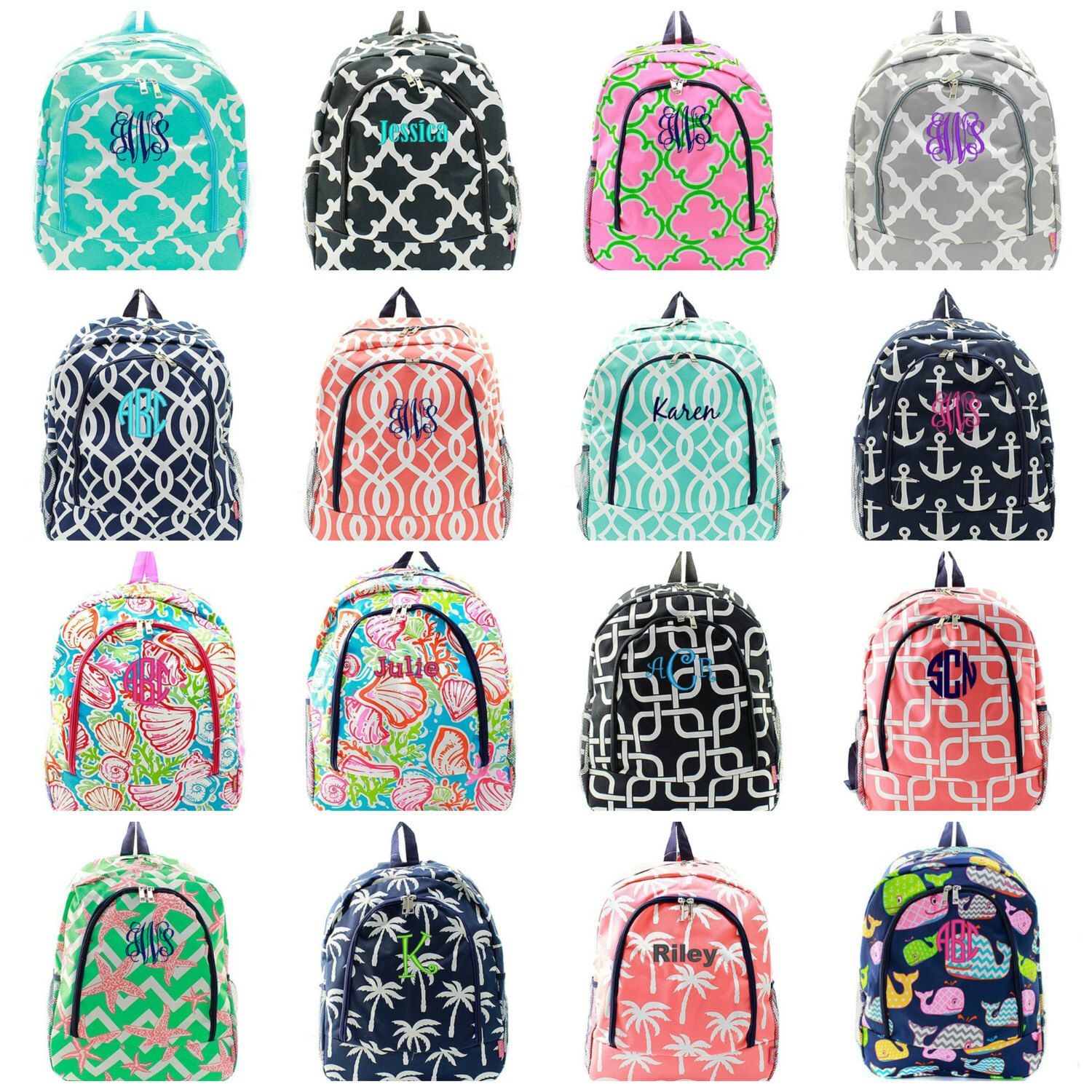personalized backpack monogrammed bookbag 30 patterns to choose