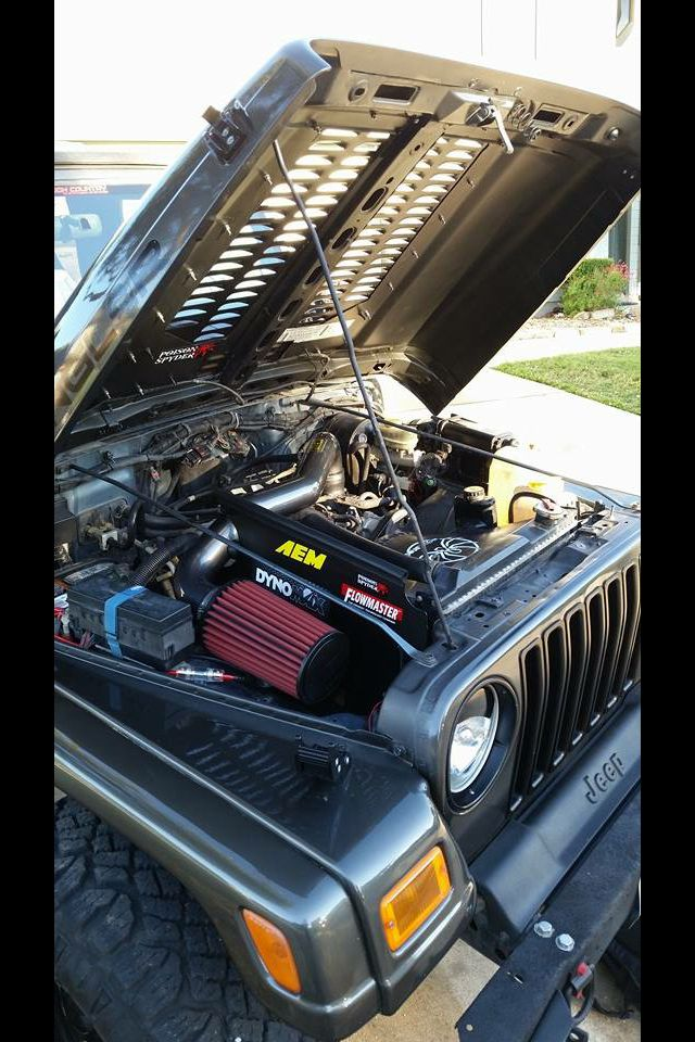 Nicks 25 Under The Hood New Full Exhaust Air Intake And Ignition Systems Just Installed Reworked The Under Hood Elect Jeep Wrangler Tj Jeep Tj Wrangler Tj