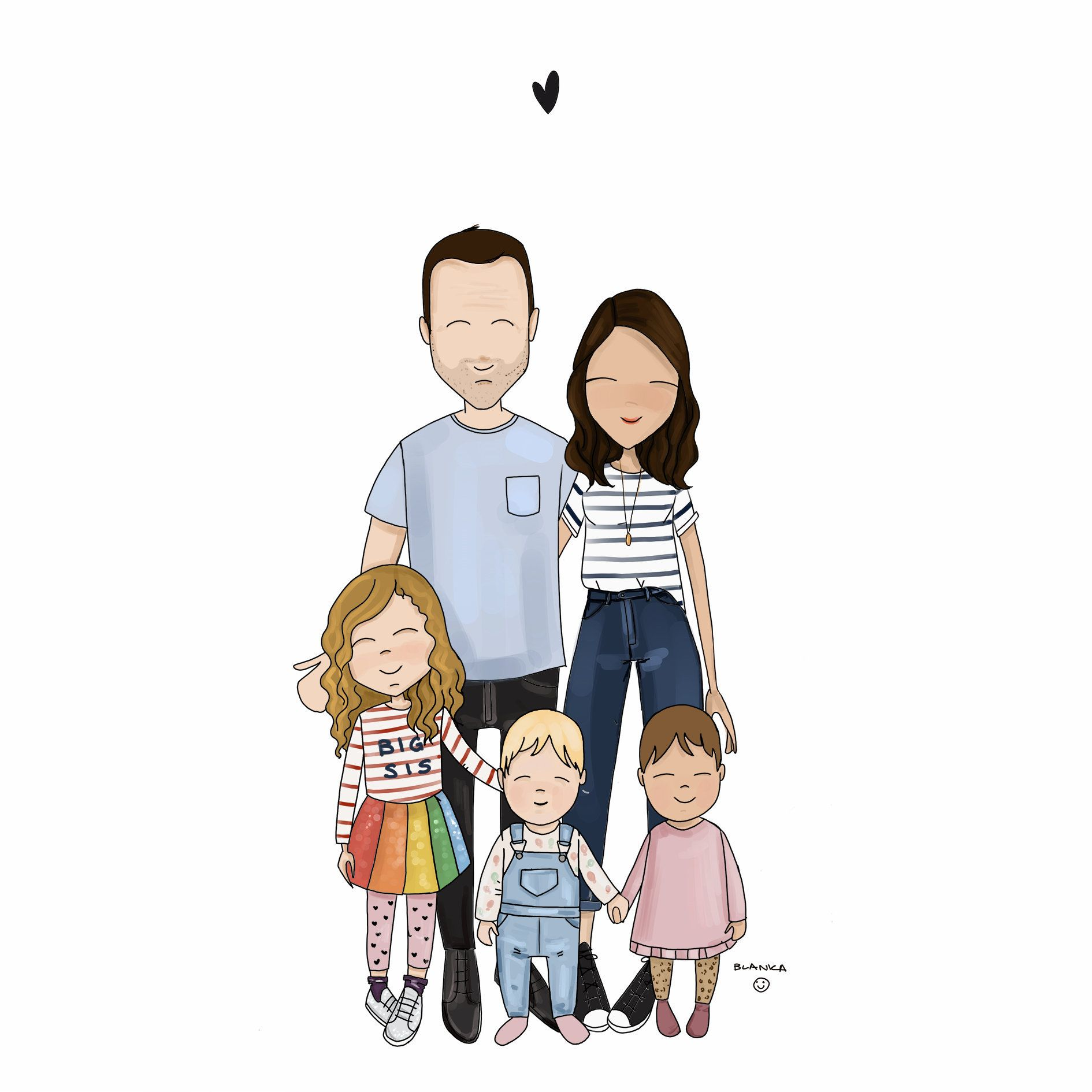 Family Portrait 5 People Illustrated Family Portrait Bespoke Illustration Custom Portrait Illustrated Family Portrait Custom Illustrated Family Portrait Family Illustration