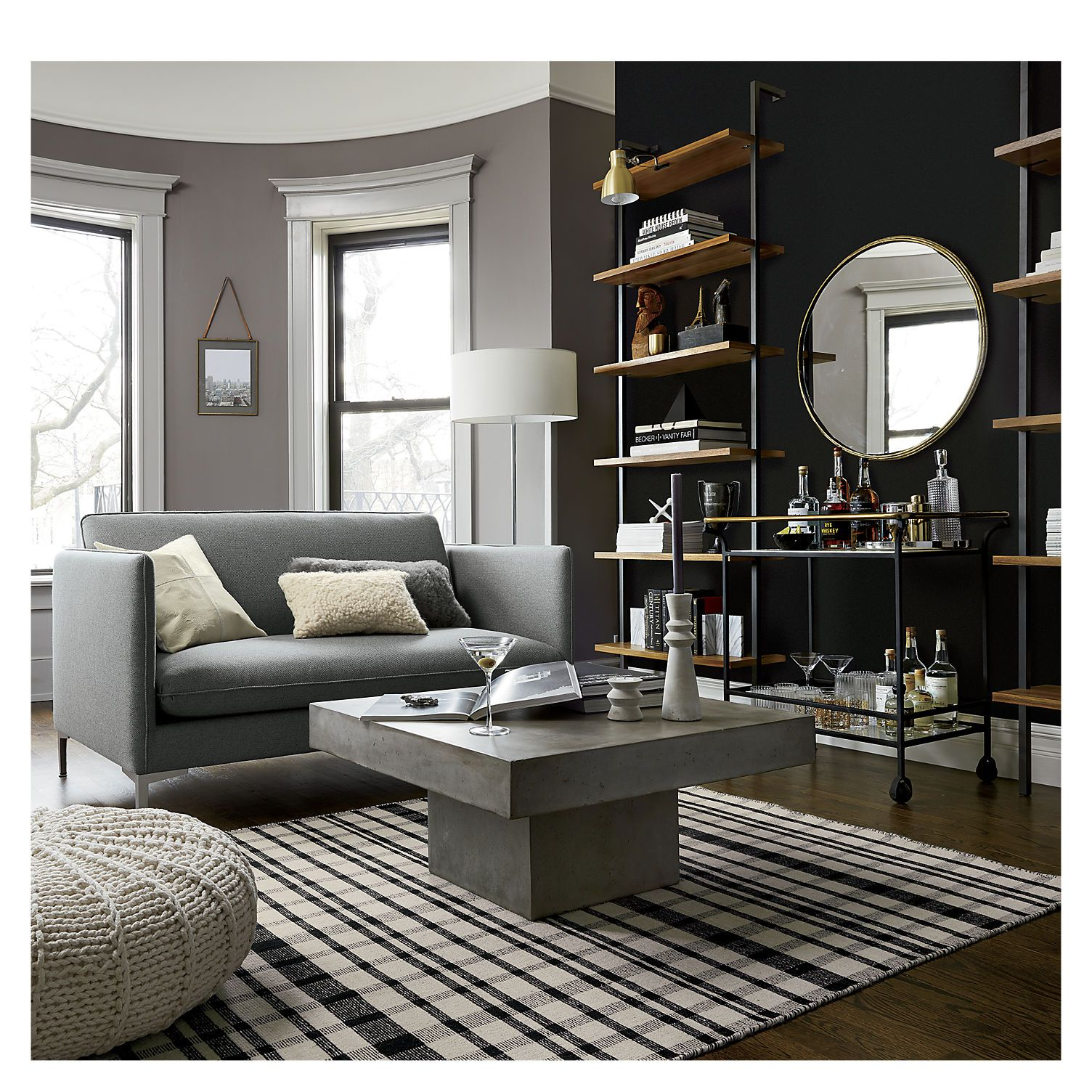 Grey Walls Helix 96 Acacia Bookcase All The Right Angles For Stuff Six Fixed Veneer Shelves Stained A Warm Midtone Brown Ladder