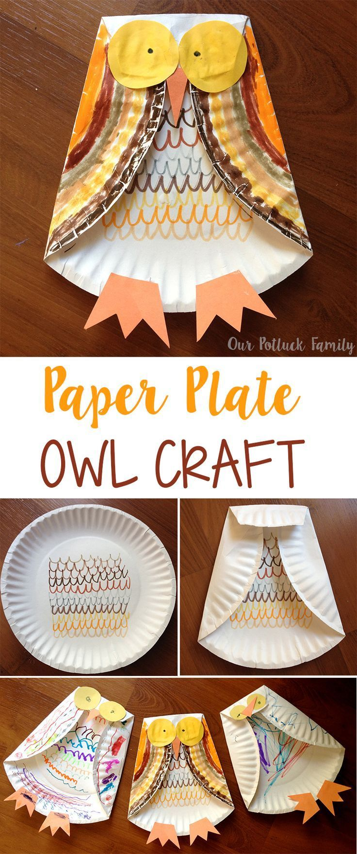 Paper Plate Owl  Huppie Mama - Fun fall crafts, Paper plate crafts for kids, Construction paper crafts, Fall crafts for kids, Paper plate crafts, Owl crafts - Stepbystep instructions for kids to create a paper plate owl using a paper plate, markers, crayons, and construction paper  It's the perfect fall craft!