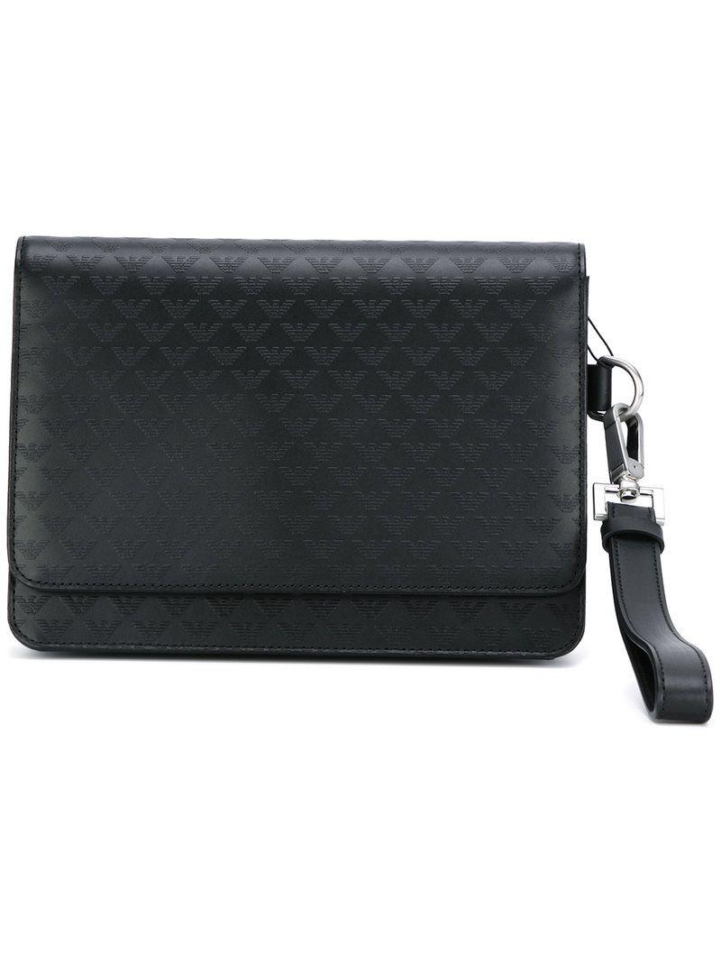 3fb42426b72a EMPORIO ARMANI EMPORIO ARMANI - LOGO EMBOSSED CLUTCH .  emporioarmani  bags   leather  clutch  polyester  hand bags