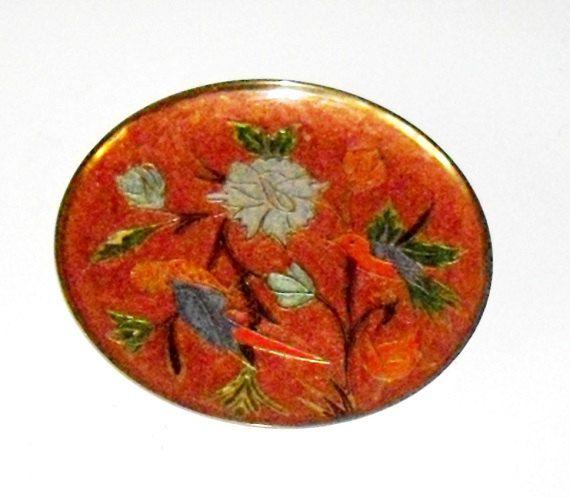 Vintage Cloisonne Enamel Plate Enamel Brass wall by designfrills, $18.00