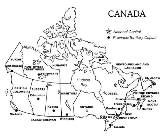Printable Map of Canada With Provinces and Territories, and Their