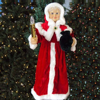 24 animated red mrs claus w lighted candle indoor for Animated christmas decorations