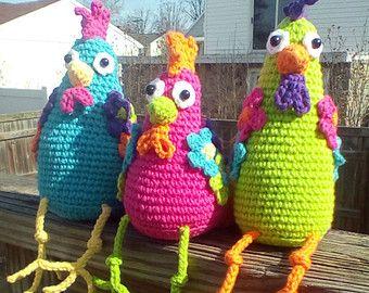 Amigurumi Patterns Free Crochet Pdf : Funky chicken trio crochet amigurumi pattern pdf bricolage et diy