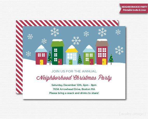 Neighborhood Party Invitation Printable Christmas Open House