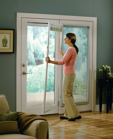 Alternatives To Enclosed Door Blinds You Can Install Yourself The Finishing Touch Sliding Glass Door Window Door Blinds Sliding Door Window Treatments
