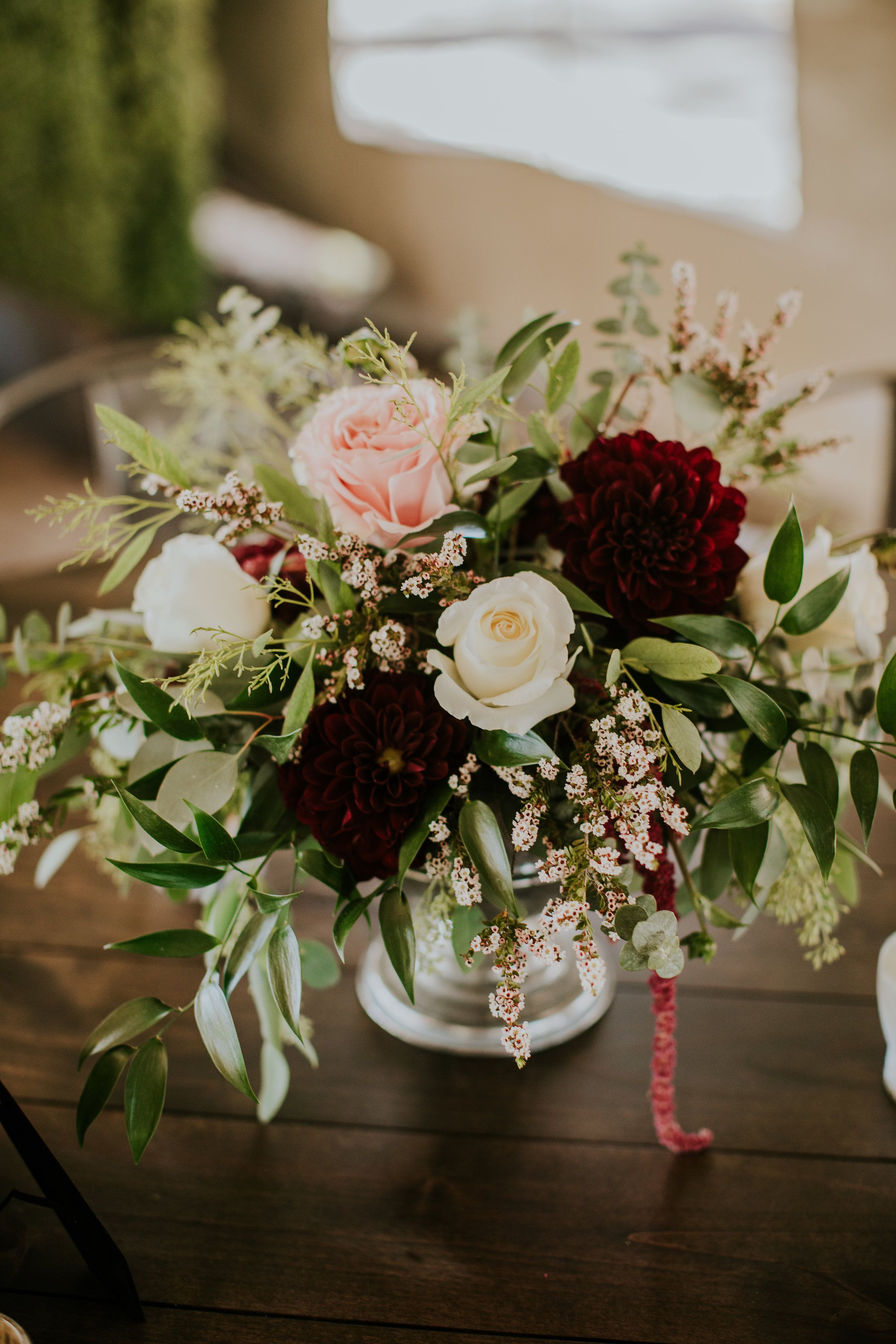 By Enchanted Florist Lake Tahoe Farm Table Centerpiece Ceremony Flowers Floral Centerpieces