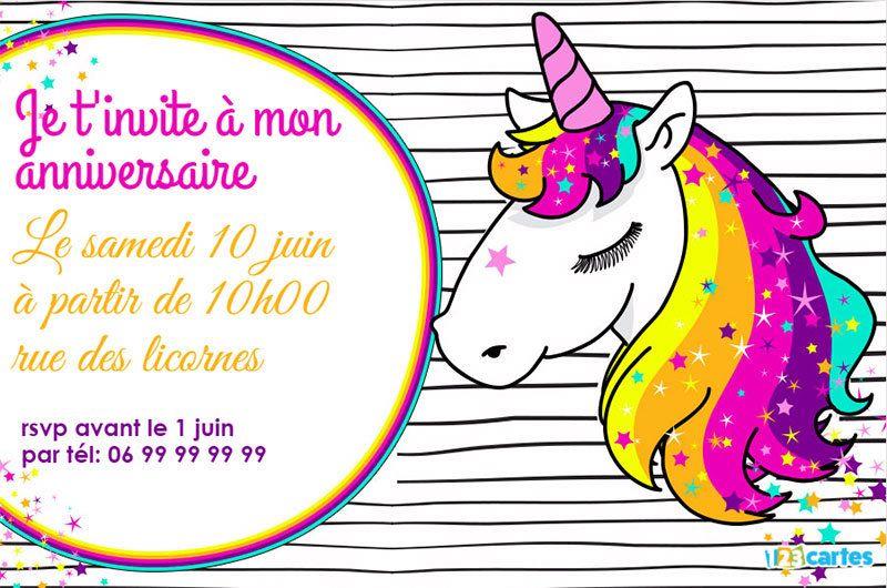 Invitation Anniversaire Licorne à Personnaliser En Ligne Et à