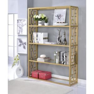 acme furniture blanrio etagere clear glass and gold bookcase 92465 rh pinterest com