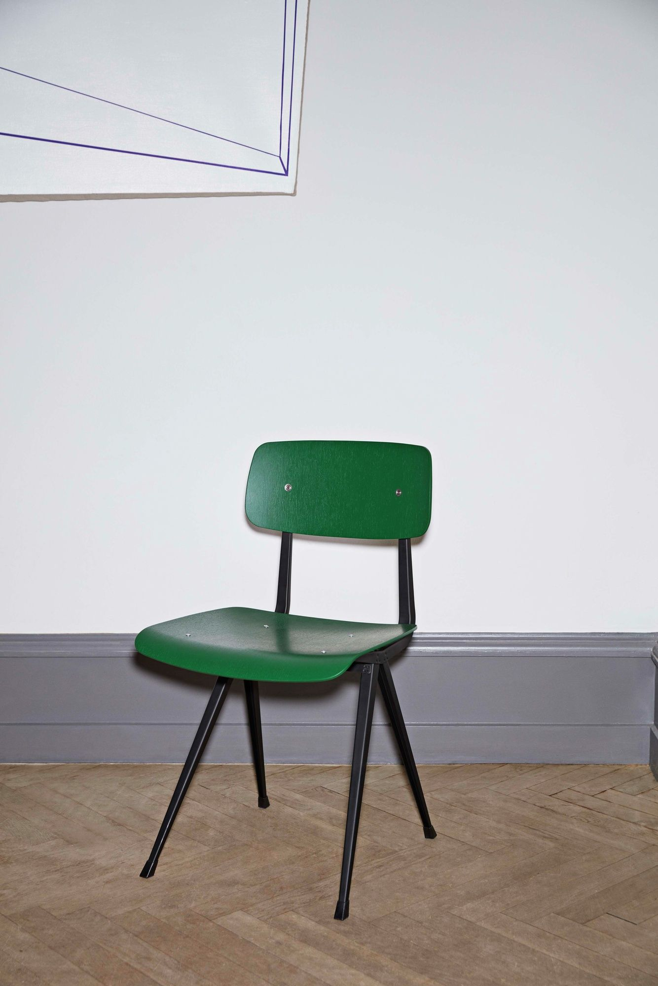 Hay Result Chair Groen Gebeitst Zwart Frame Stoelen Retro Stoelen Schoolstoelen
