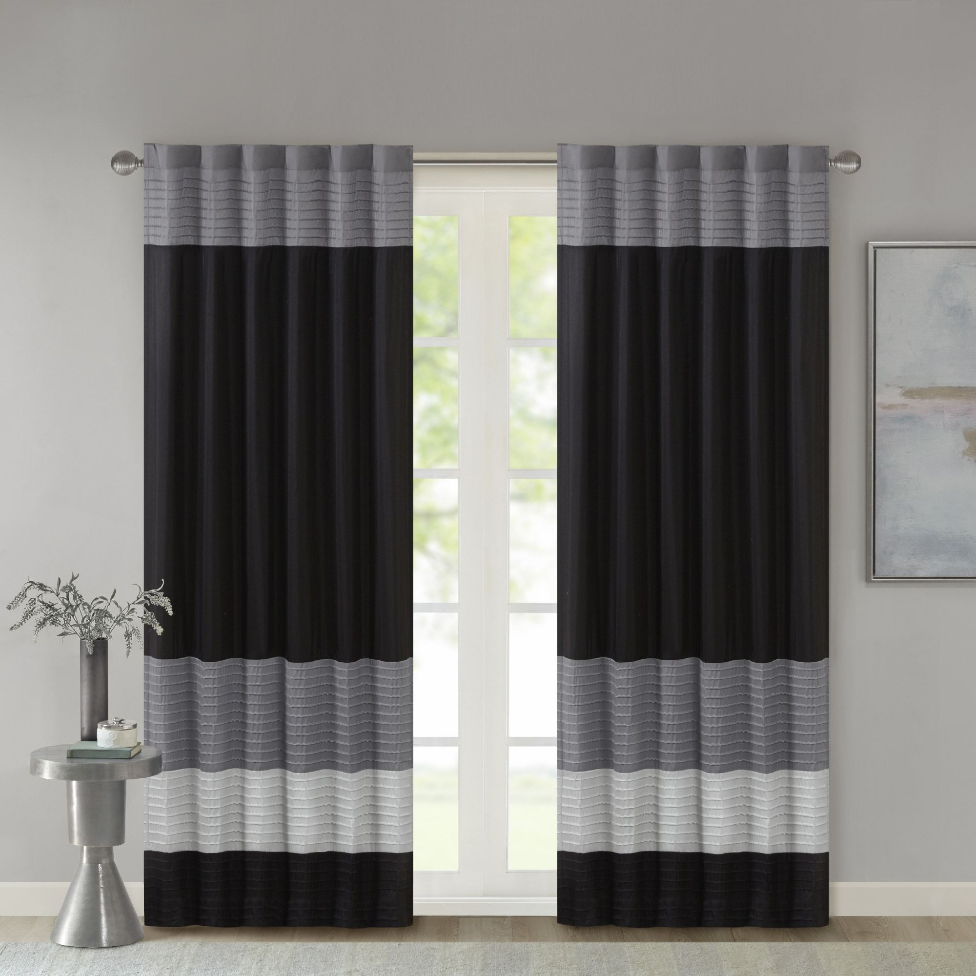 Madison Park Infinity Polyoni Pintuck Single Window Curtain Panel Panel Curtains Curtains Drapes Curtains