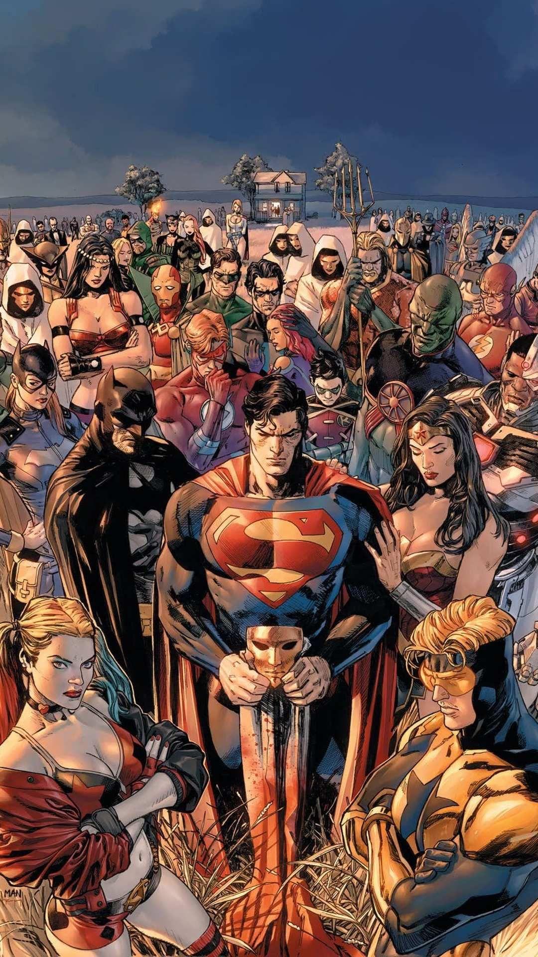 Dc World Superheroes Together Iphone Wallpaper Dc Comics Comics Dc Comics Art