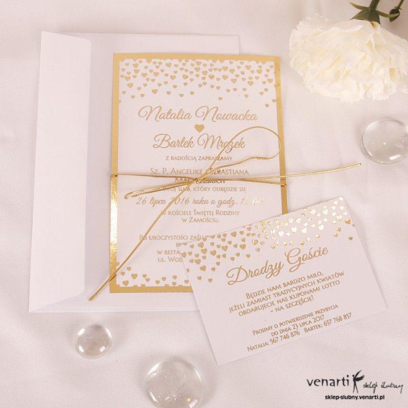 Zaproszenia ślubne Złocone Serduszka Kod Kp062 Zaproszenia