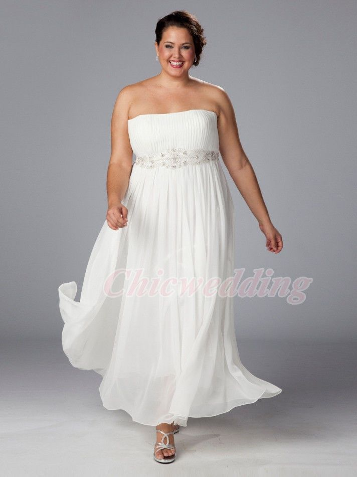 Plus Size Ivory Wedding Dresses Straight Neck Empire Bridal