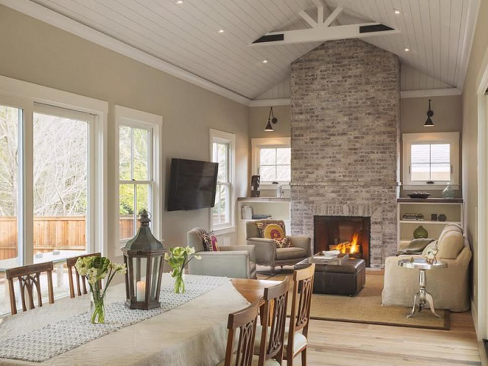 Neutral Living Room With Rustic Modern Elements Rustic Farmhouse Living Room Modern Farmhouse Living Room Brick Fireplace
