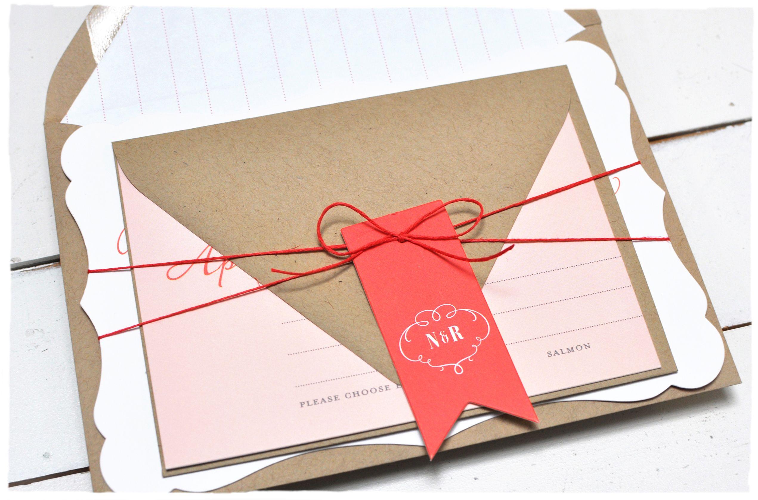 Romance Script Wedding Invitation suite | Red wedding invitations ...