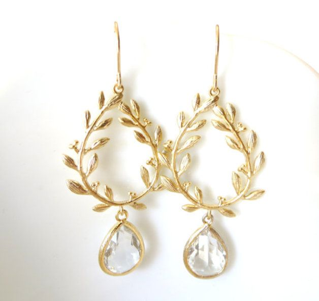 Gold Earrings – Gold Laurel Wreath Earrings with Clear Crystal – a unique product by ShineBridal on DaWanda