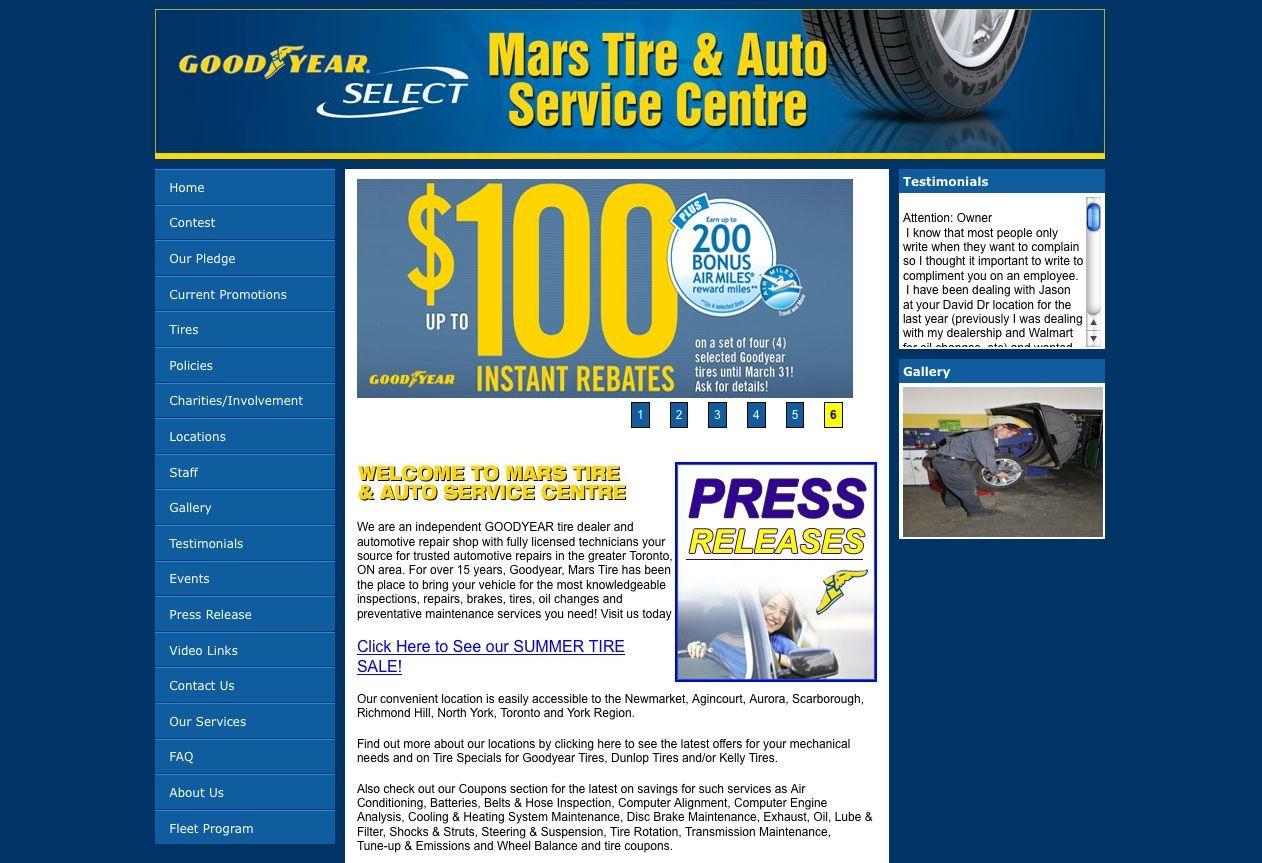 Mars Tire Website By Netmosphere Design Inc Www Netmo Ca