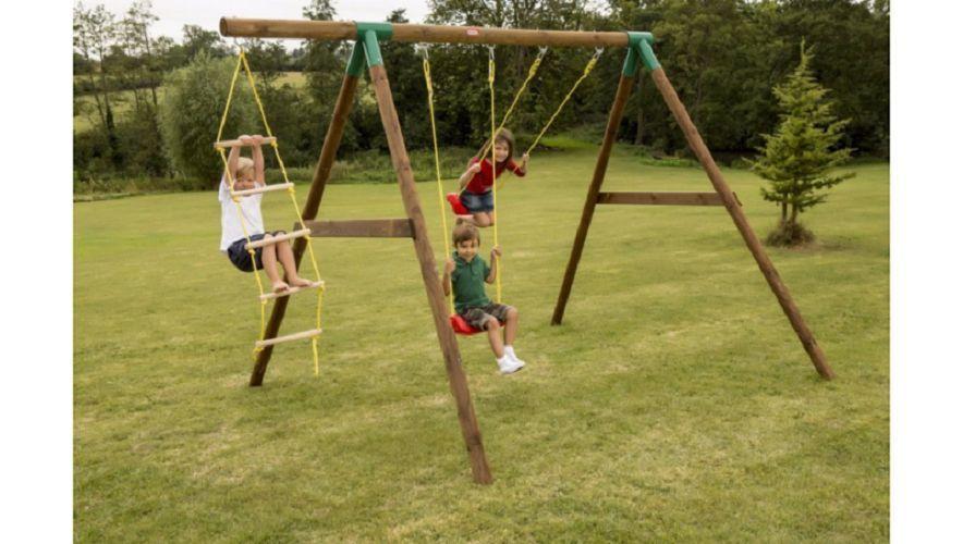 Wooden Swing Set Kids Garden Fun Outdoor Play Climbing Rope