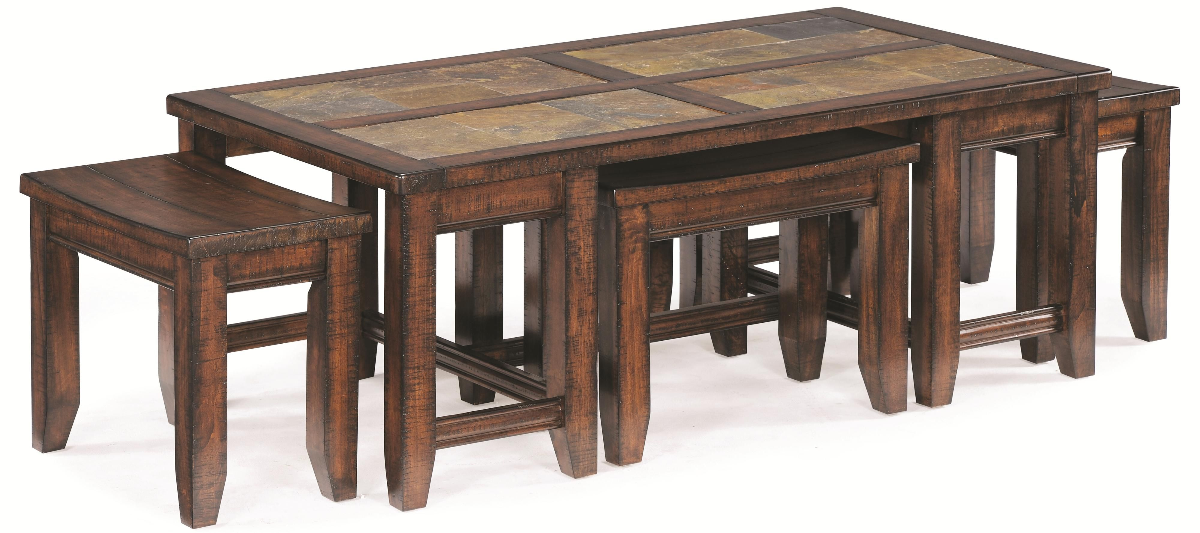 Allister Rectangular Cocktail Table By Magnussen Home Coffee Table With Stools Coffee Table With Stools Underneath Coffee Table [ 1779 x 4000 Pixel ]