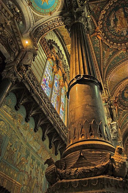 Pillar of the Earth, Fourvière Basilica. Lyon, France.