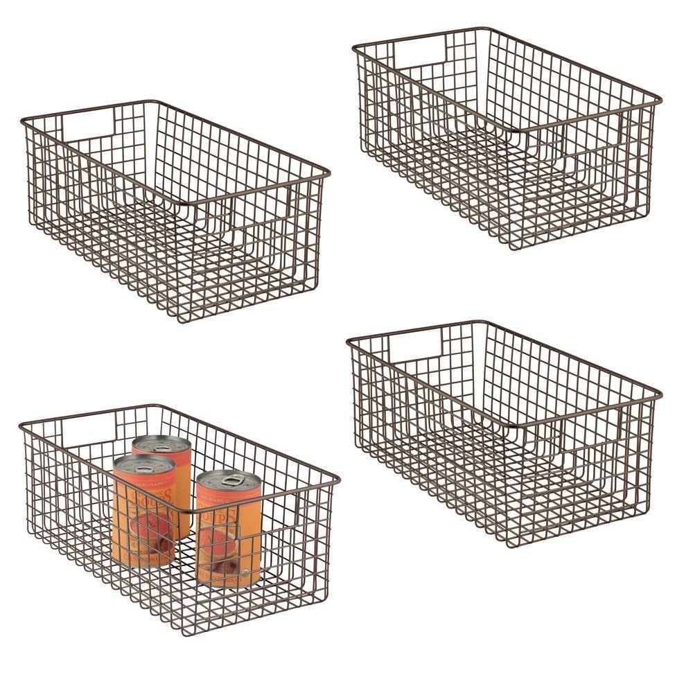 Large Metal Wire Pantry Storage Basket In Bronze 16 X 9 25 Set Of 4 By Mdesign In 2020 Food Storage Organization Kitchen Storage Storage Bins