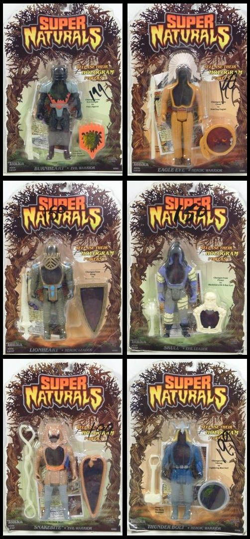 A Set Of Six Characters Mint On Blister Card From Tonka S Super Naturals Line Of Holographic Action Figures Childhood Toys Retro Toys Cool Toys