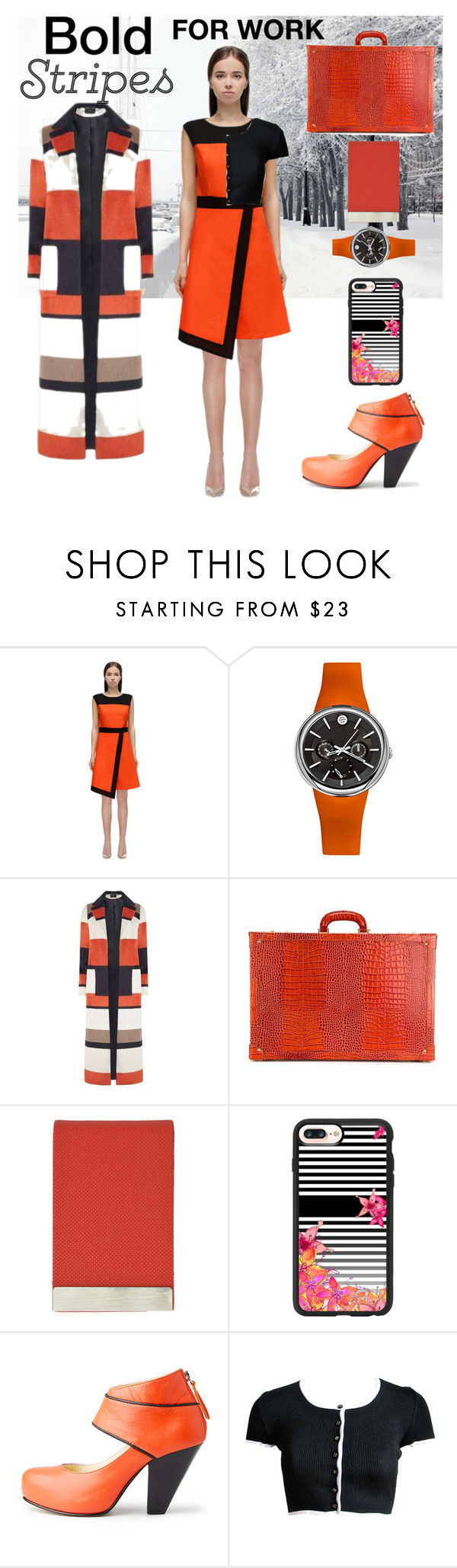 """""""BUSINESS STRIPES"""" by carolsha ❤ liked on Polyvore featuring Philip Stein, Dorothy Perkins, Family Affair, Casetify and Nine to Five"""