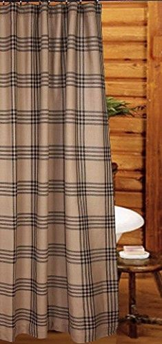 New Primitive Country Cabin Rustic Bath BLACK TAN PLAID Fabric Shower Curtain