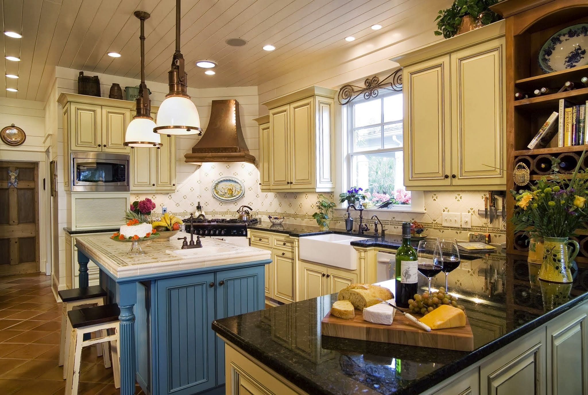 The Custom Blue And Yellow Cabinetry And Use Of Numerous Antiques In This  Kitchen Create The · Kitchen YellowFrench Country ...