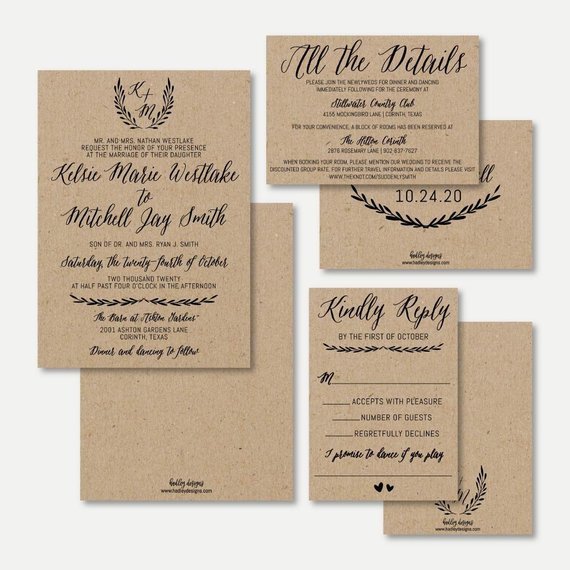 Simple Kraft Wedding Invitation Set Template Wedding Etsy In 2020 Wedding Invitation Sets Kraft Wedding Invitations Wedding Invitations Rsvp