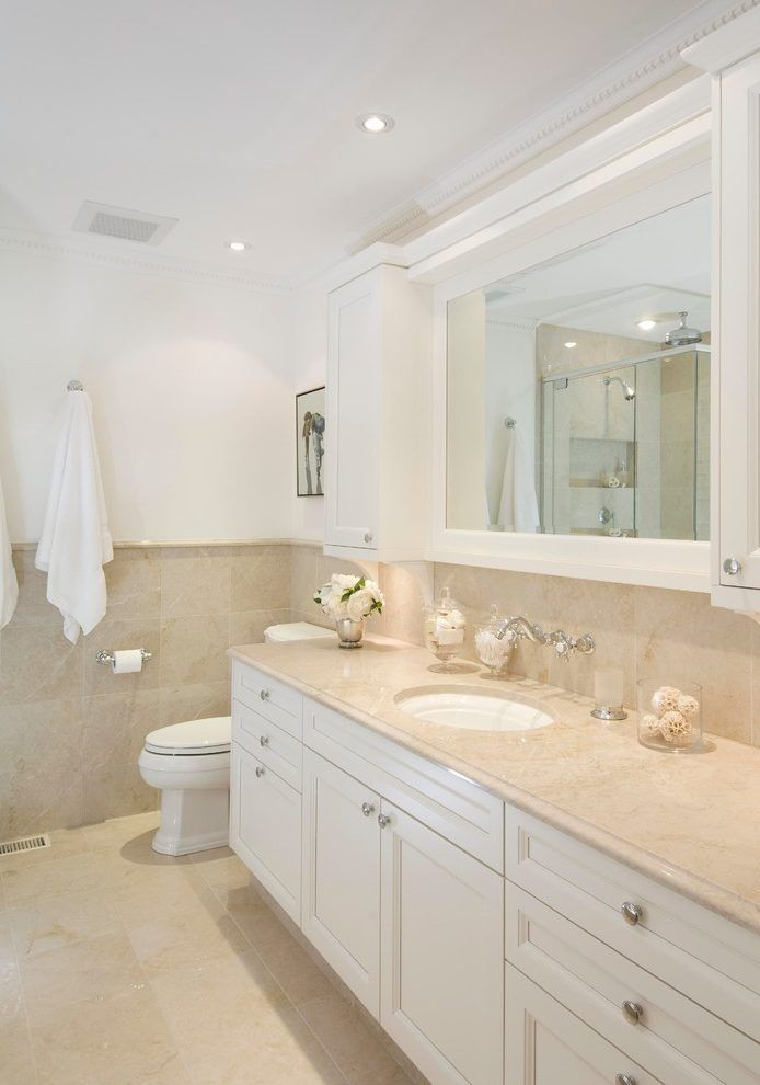 Image Result For White Vanity With Beige Counter Beige Tile