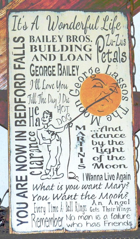 PRIMITIVE CHRISTMAS TYPOGRAPHY SIGN~GEORGE LASSOS THE MOON~IT/'S A WONDERFUL LIFE