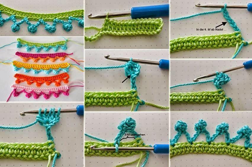 Ribete con pequeñas borlas al crochet | crochet | Pinterest ...