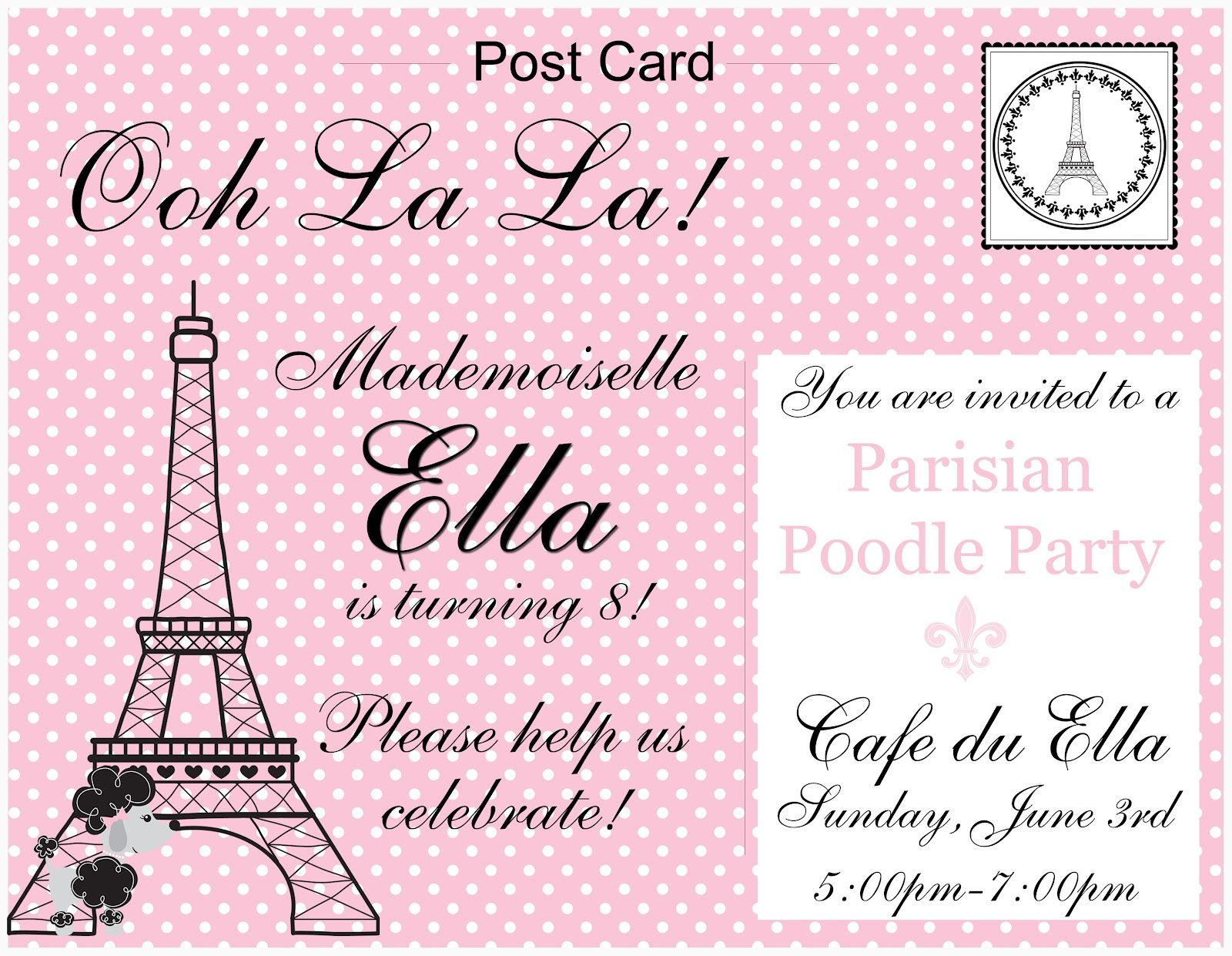 FRENCH PINK POODLE PARIS TH BIRTHDAY PARTY CELEBRATION Pink - Birthday invitation cards in french