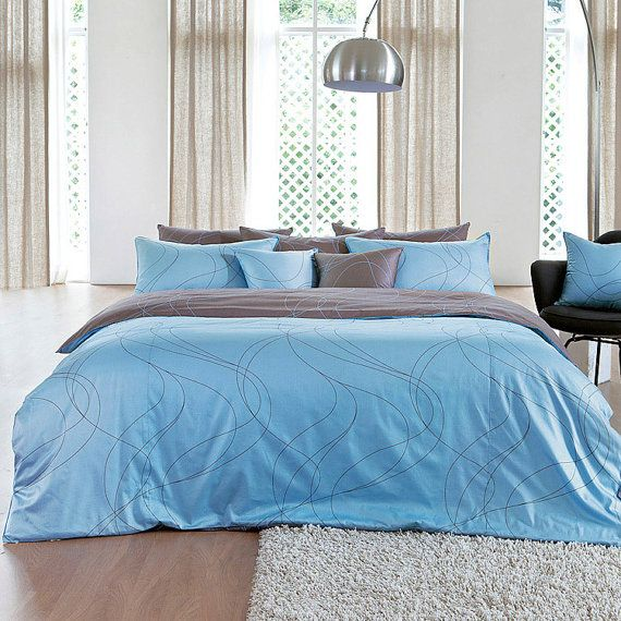 820tc Modern Sky Blue Brown Swirl Queen Duvet Cover By Bhdecor 185 95 Blue Duvet Cover Duvet Cover Sets Brown Duvet Covers