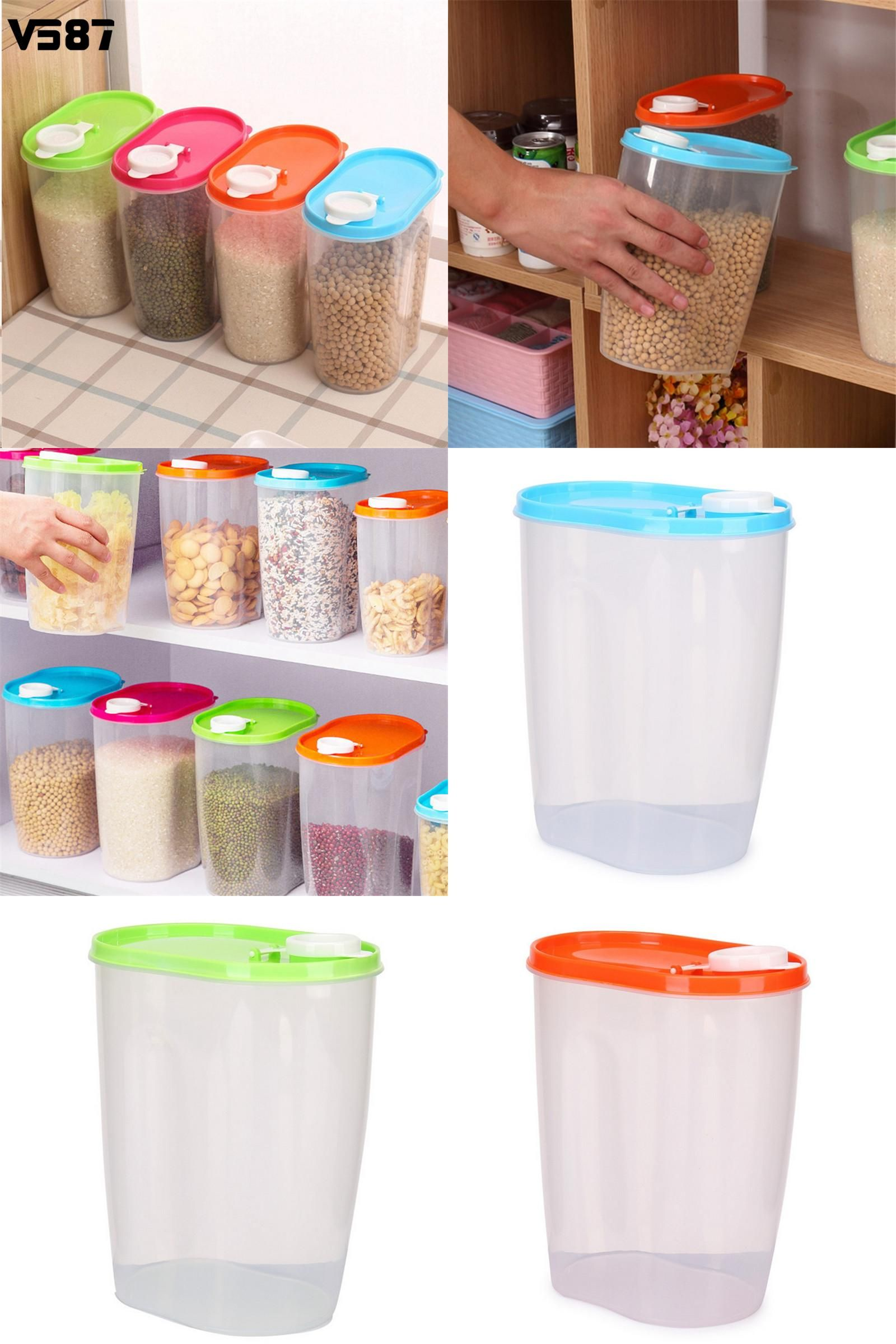 [Visit To Buy] Kitchen Storage Box Jar Dried Food Cereal