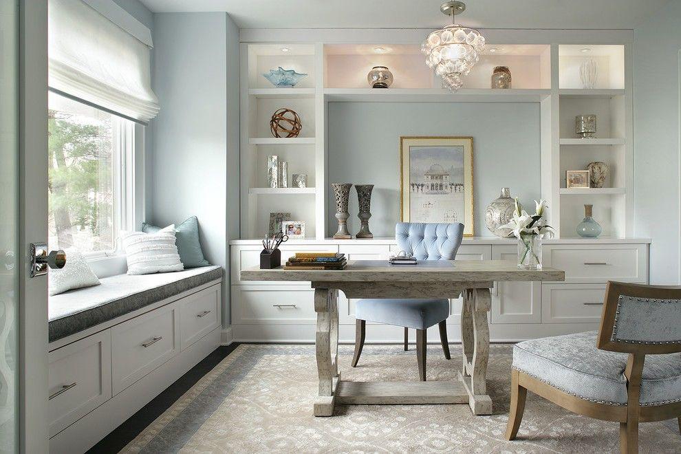Aqua Desk Chair With Light Blue Wall Home Office Closet Hidden