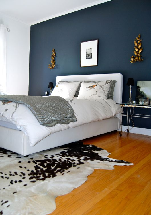 Dark Blue Wall with White Bed and Wooden Floor  Bedroom