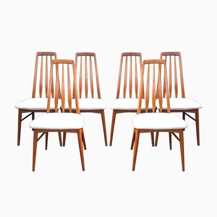 Vintage Eva Stühle von Niels Koefoed für Hornslet Møbelfabrik, 6er - stühle für die küche