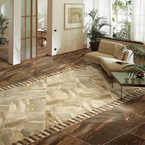 This Large Lounge Features A Tiled Floor With Contrasting Tobacco