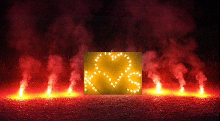 Brennendes Herz mit 2 Buchstaben inkl.10 Bengalfeuern