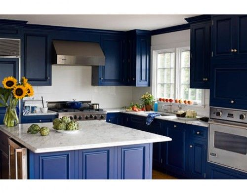 Kitchen By Kathryn Fee, Cabinets Painted Benjamin Moore Champion Cobalt.  House Beautiful Part 93