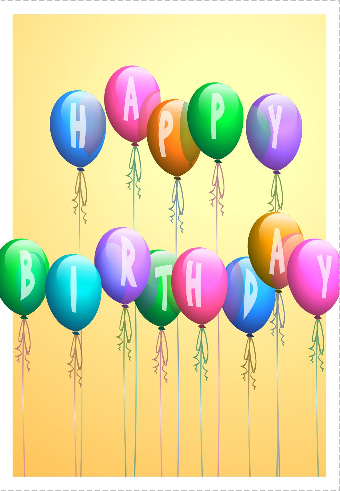photograph relating to Free Printable Happy Birthday Signs referred to as Cost-free Printable Delighted Birthday Baloons Greeting Card