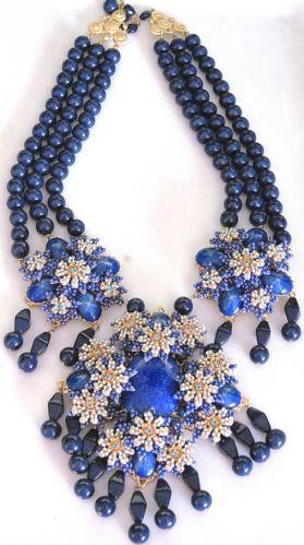 Stanley Hagler Massive Lapis Blue Glass Bead Rhinestone Necklace | eBay