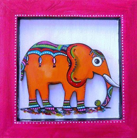 un petit tableau dlphant en mdium dcoup peint la main l - Cadre Elephant