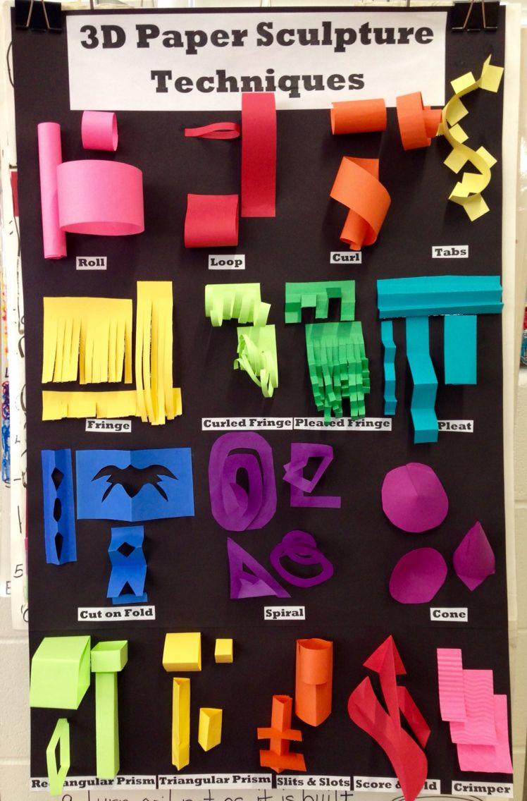 3D Paper Sculpture Techniques Chart | Art Ed- Paper