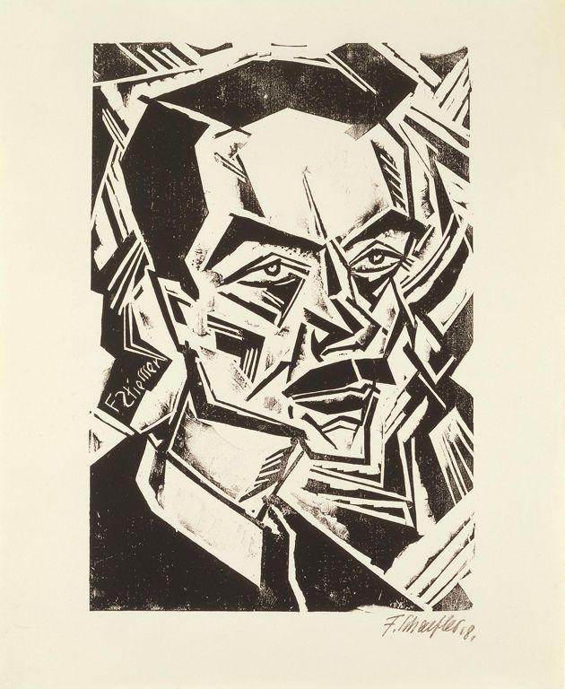 Fritz Schaefler (German, 1888–1954) Portrait of Felix Stiemer, 1918 Woodcut sheet: 22 3/16 x 14 5/8 in. (56.36 x 37.15 cm) block: 14 5/16 x 9 11/16 in. (36.35 x 24.61 cm) mat: 28 x 22 in. (71.12 x 55.88 cm) Marcia and Granvil Specks Collection M2000.500 Photo credit Michael Tropea